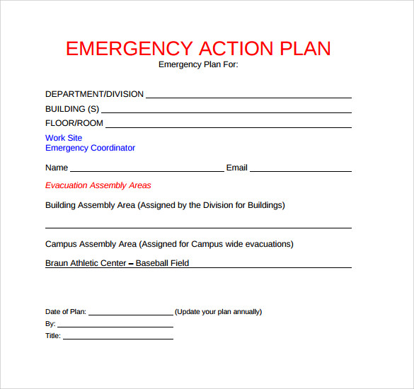 Sample emergency action plan template 9 documents in for Emergency response plan template for small business
