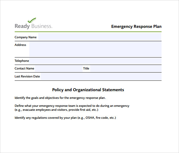 Free download small business emergency response plan for Emergency response plan template for small business
