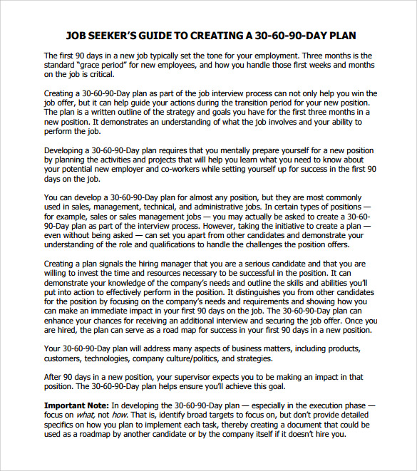 7 sample 30 60 90 day action plan templates sample for Job search action plan template