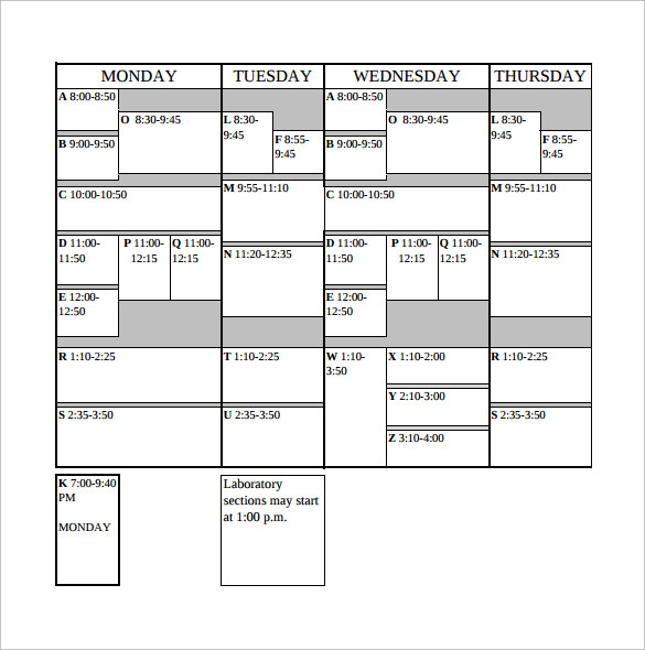Sample College Schedule - 7+ Documents In Pdf