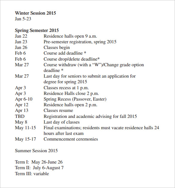university schedule template sample