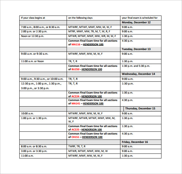 simple university schedule template