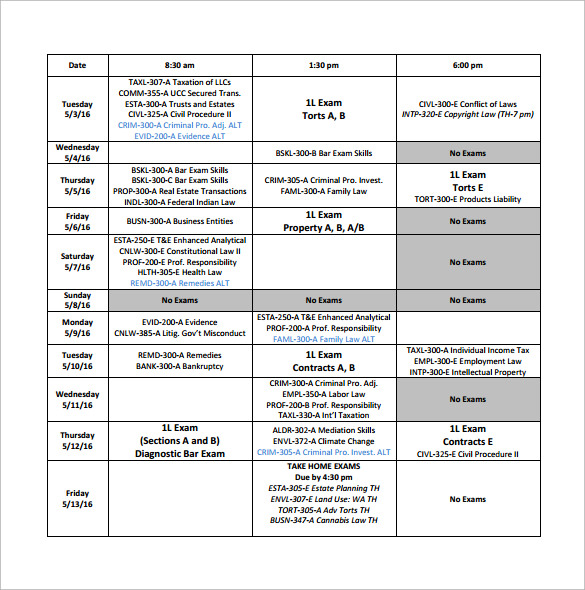 sample university schedule