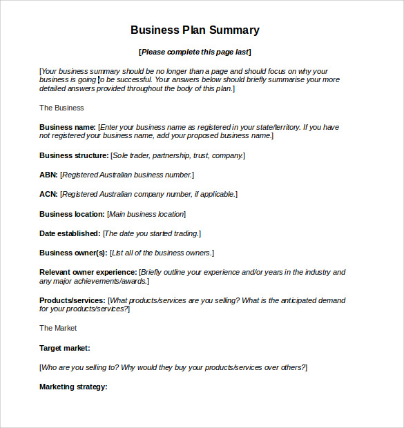 Sample Business Action Plan   Example Format