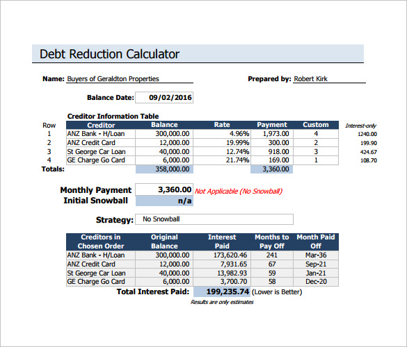 Sample Debt Reduction Calculator   Documents In Pdf Excel
