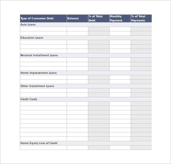 Debt Snowball Calculator Excel Template