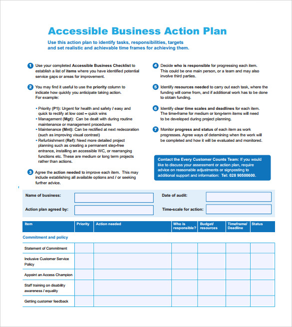 business action plan sample template