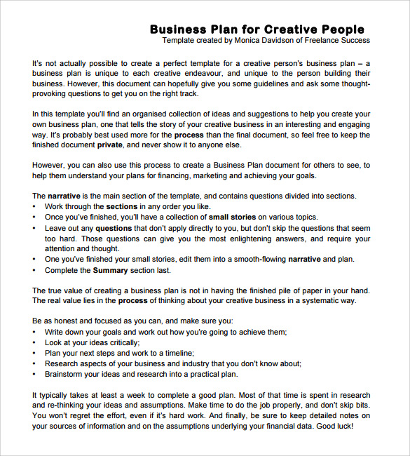 Creative business plans examples