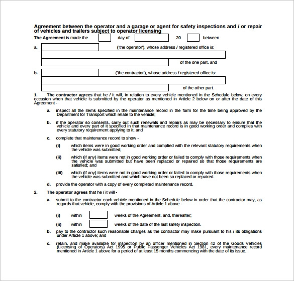 Maintenance Contract Template - 9+ Download Free Documents In Pdf