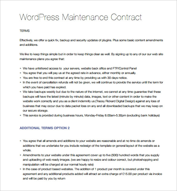 Maintenance Contract Template   Download Free Documents In Pdf
