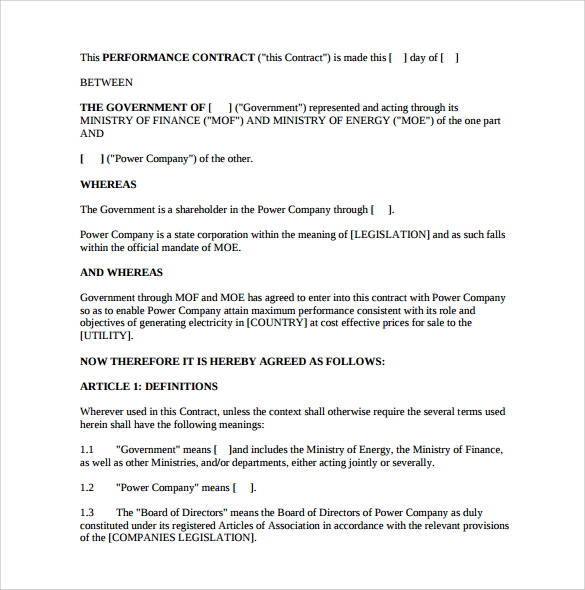 Performance Contract Template 11 Download Free Documents in PDF – Performance Contract Template