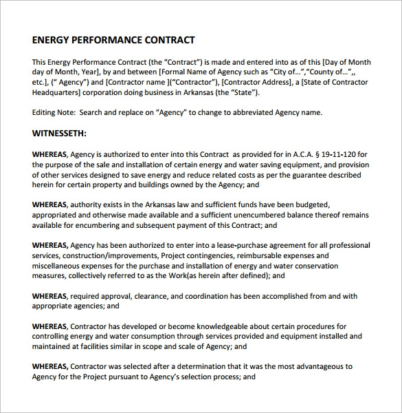 Performance Contract Template - 11+ Download Free Documents In Pdf