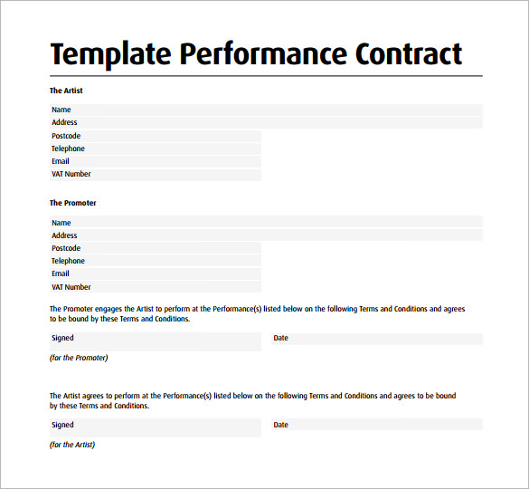 Performance contract template 11 download free for Dance contract template