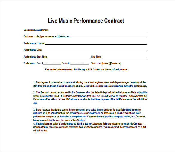 performance contract template