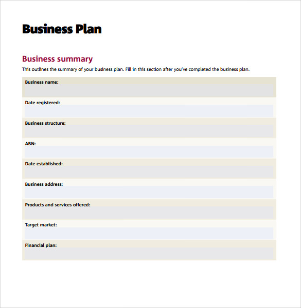free printable business plans templates
