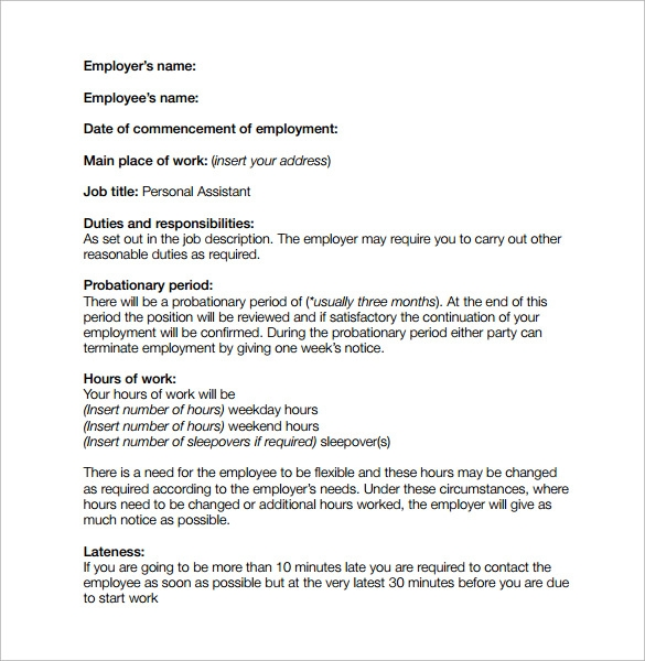 Job Contract Template 9 Download Free Documents in PDF Word – Job Contract Template