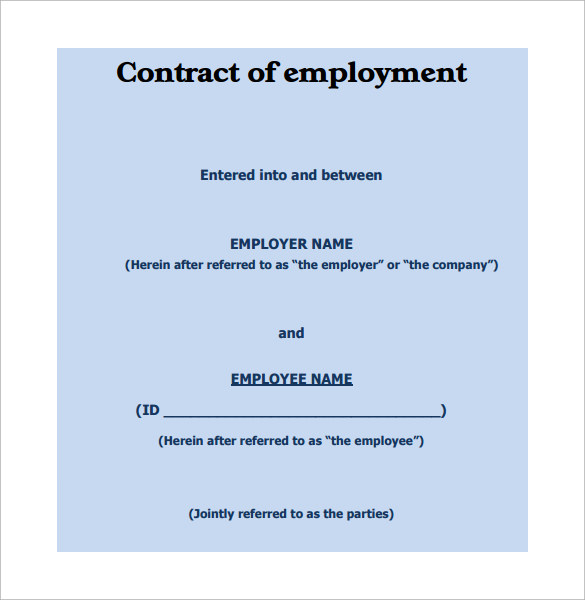 10 job contract templates to download for free sample for Basic contract of employment template