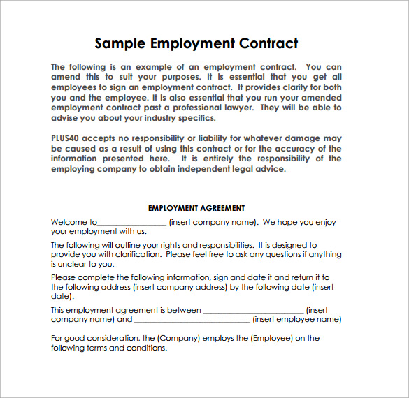 10 job contract templates to download for free sample for Free temporary employment contract template