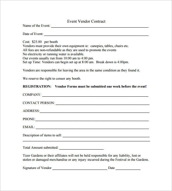 Vendor contract template 1000 images about event planner for Preferred vendor agreement template