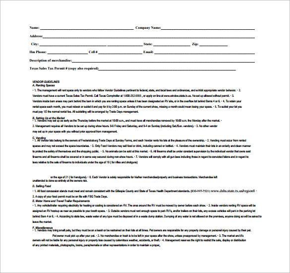 Vendor Contract Template 7 Download Free Documents in PDF Word – Food Vendor Contract