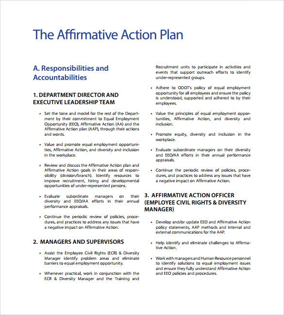 Sample Affirmative Action Plan   Documents In Pdf