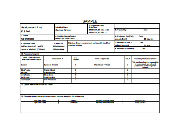 Sample Incident Action Plan Template   Free Documents Download