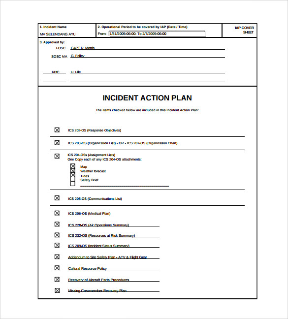 Sample Incident Action Plan Template - 7+ Free Documents Download