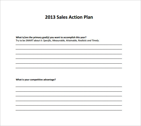 Sample Sales Action Plan 6 Example Format – Sales Action Plan Template