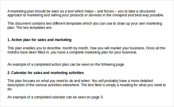 Sample Sales Action Plan Template Word