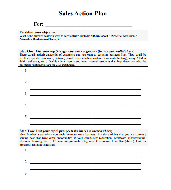 Sample Sales Action Plan U2013 Example, Format