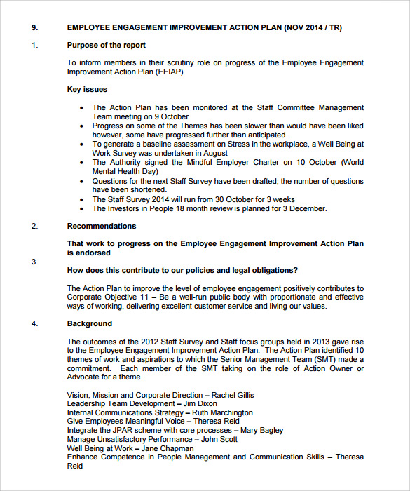 Employment Enagement Action Plan Template  Performance Action Plan Sample