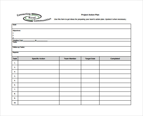 Sample Project Action Plan Template   Documents In   Word