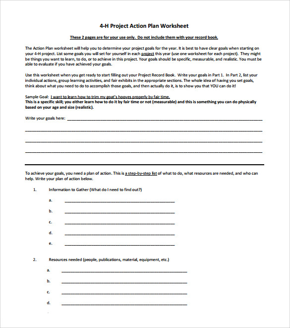 project action plan template printable