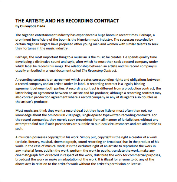 Recording Studio Contract Template Memorandum Of Agreement