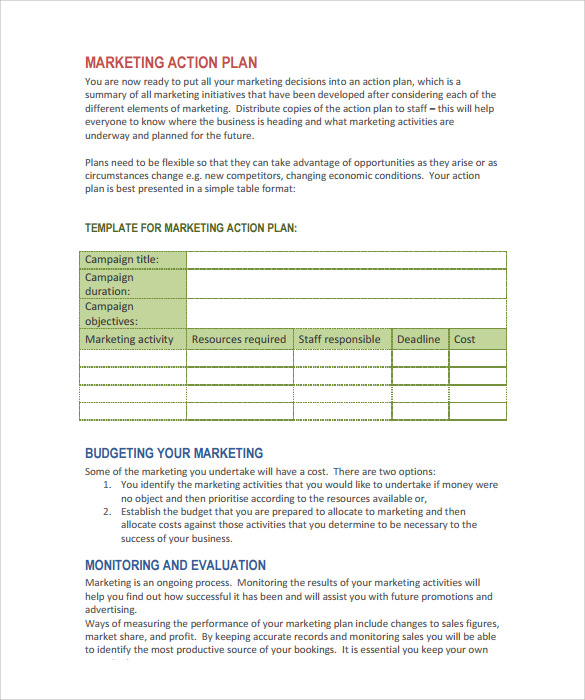 Marketing Action Plan Template   9  Download Documents in PDF gg6T5zlf