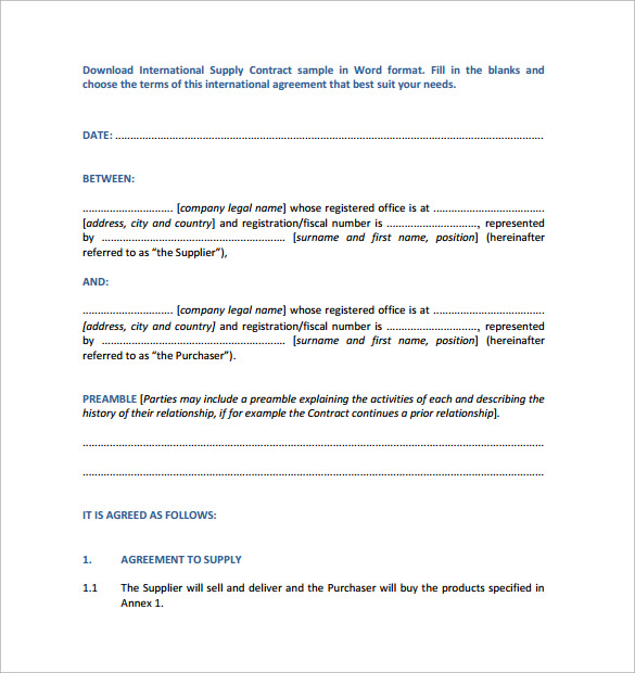 Supply Contract Template 10 Download Free Documents In Pdf Word