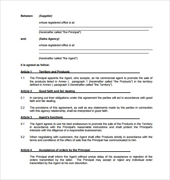 agency contract template 9 download free documents in pdf word
