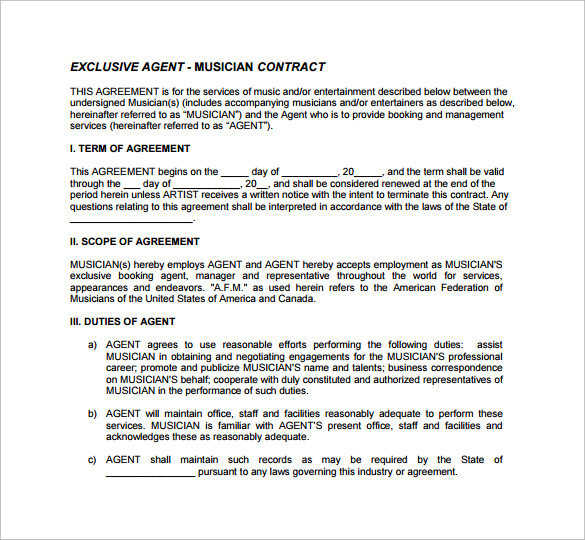 agecy musician contract