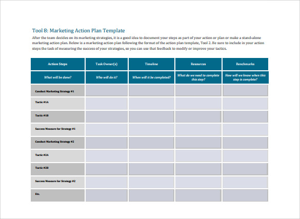 Sample Marketing Action Plan Template   Documents In Pdf