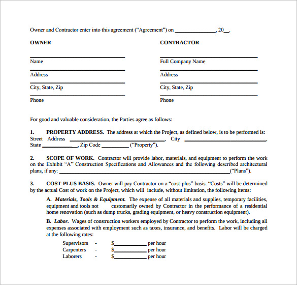 Sample Renovation Contract Template