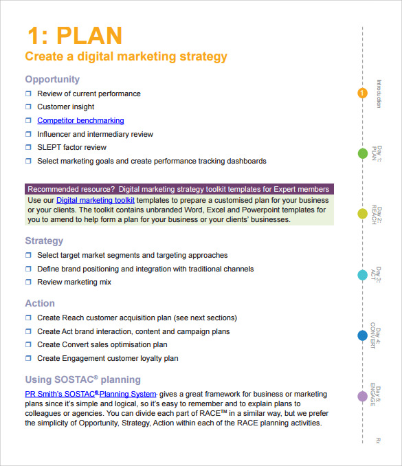 marketing action plan template