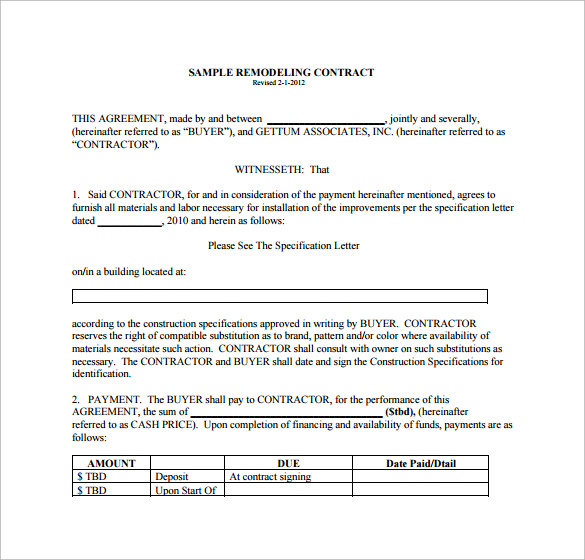 How To Make A Word Doc A Pdf >> Remodeling Contract Template - 9+ Download Free Documents ...