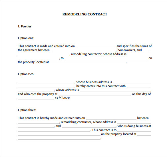 Remodeling Contract Template   Download Free Documents In Pdf Word