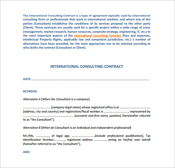 Sample Consulting Contract Template 9 Free Documents in PDF Word – Consultant Contract Template
