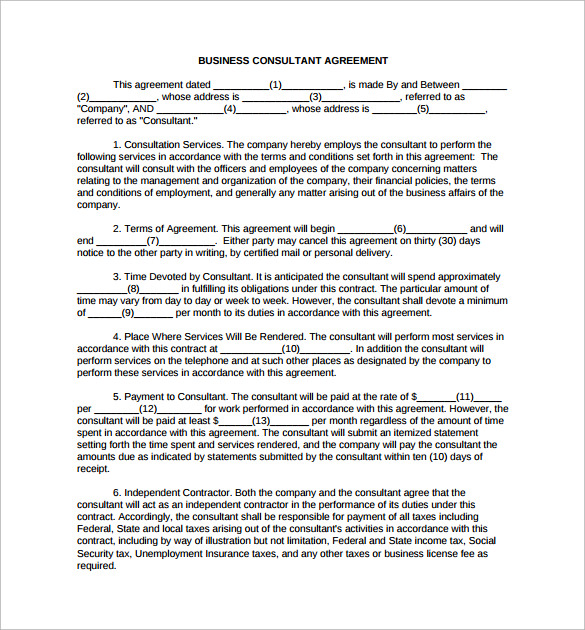 10 consulting contract templates sample templates for It consulting contract template