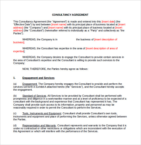 Sample Consulting Contract Template   Free Documents In Pdf Word