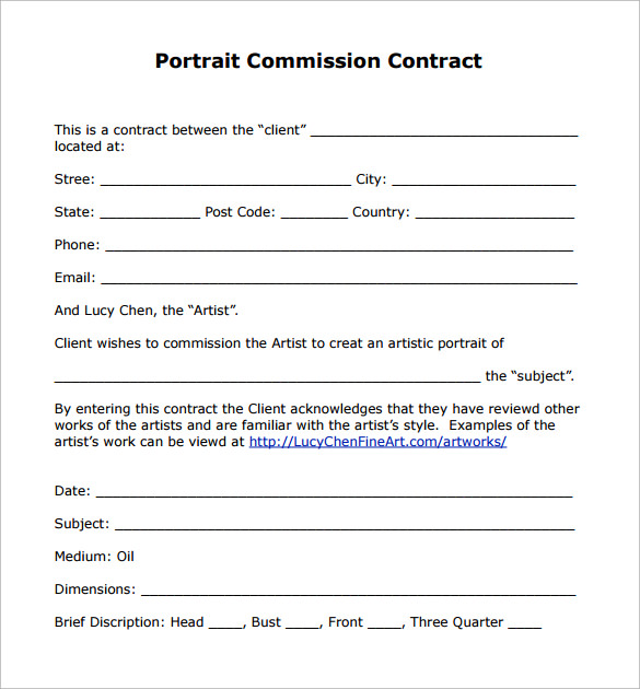 portrait commission contract