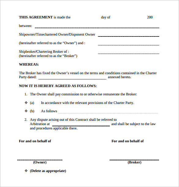 brokers commission contract template