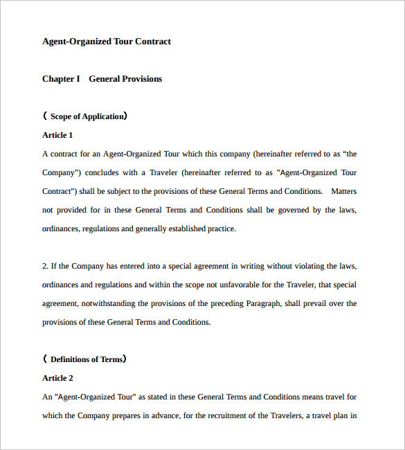 Agent Contract Template   Download Free Documents In Pdf Word