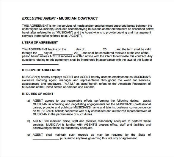 10 agent contract templates to download for free sample for Musicians contract template